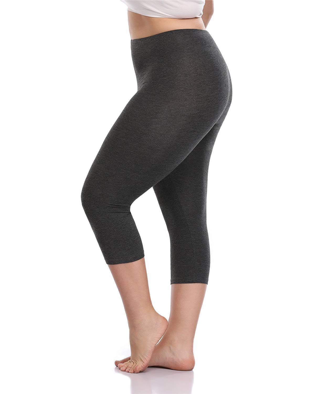 4155702a49c39 Get Quotations · VOGUEMAX Women s Capri Leggings Plus Size Stretch and  Comfy High Waisted Three-Quarter Leggings Plus