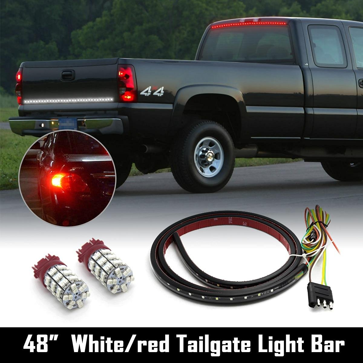 "Partsam Multifunction White/Red Tailgate Strip Bar 48""+ 2x3157 Red LED Rear Turn Signal"