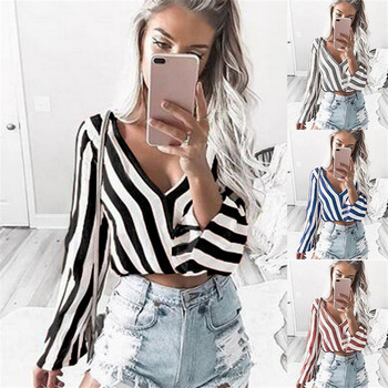 Sexy Women Deep V-Neck Long Sleeve Black and White Striped Short Tops Blouse Ropa Mujer