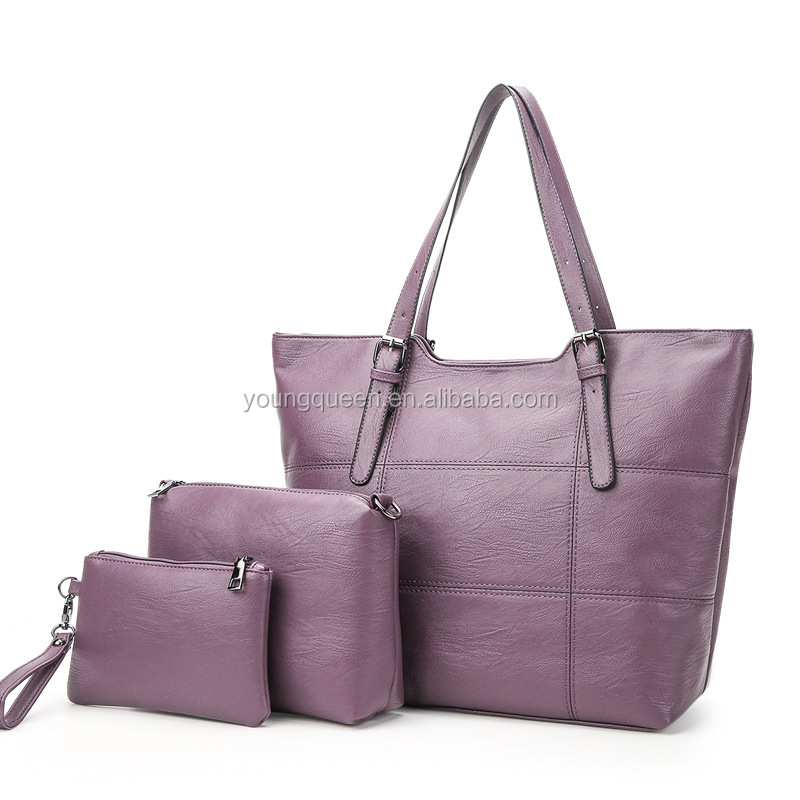 ZW323 PU Leather Multi Spaced Large Tote with Medium and Small Bags Inside 3 Pieces Set Womens Purse Handbag