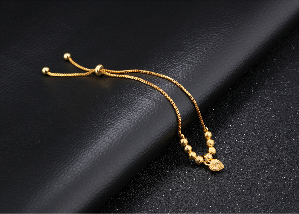 Trending Hot Products Gold Plated Stainless Steel Charm Round Bead Bracelet For Women