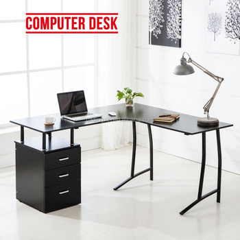 Buy shape home office Corner Computer Lshape Corner Pc Computer Desk Home Office Pc Table With Drawers Black Tylerandrews Lshape Corner Pc Computer Desk Home Office Pc Table With Drawers