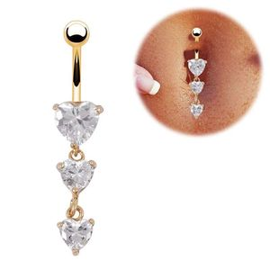 Stock Wholesale 3 Heart Shape Zirconia Belly Button Ring Piercing Body Jewelry