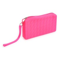 High quality easy carry soft silicone portable zipper pencil case with carrying handle