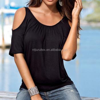 5acd3e53c35a9 ladies cold shoulder blouses tops fashion designs cut out short sleeve  summer wholesale cold shoulder tops