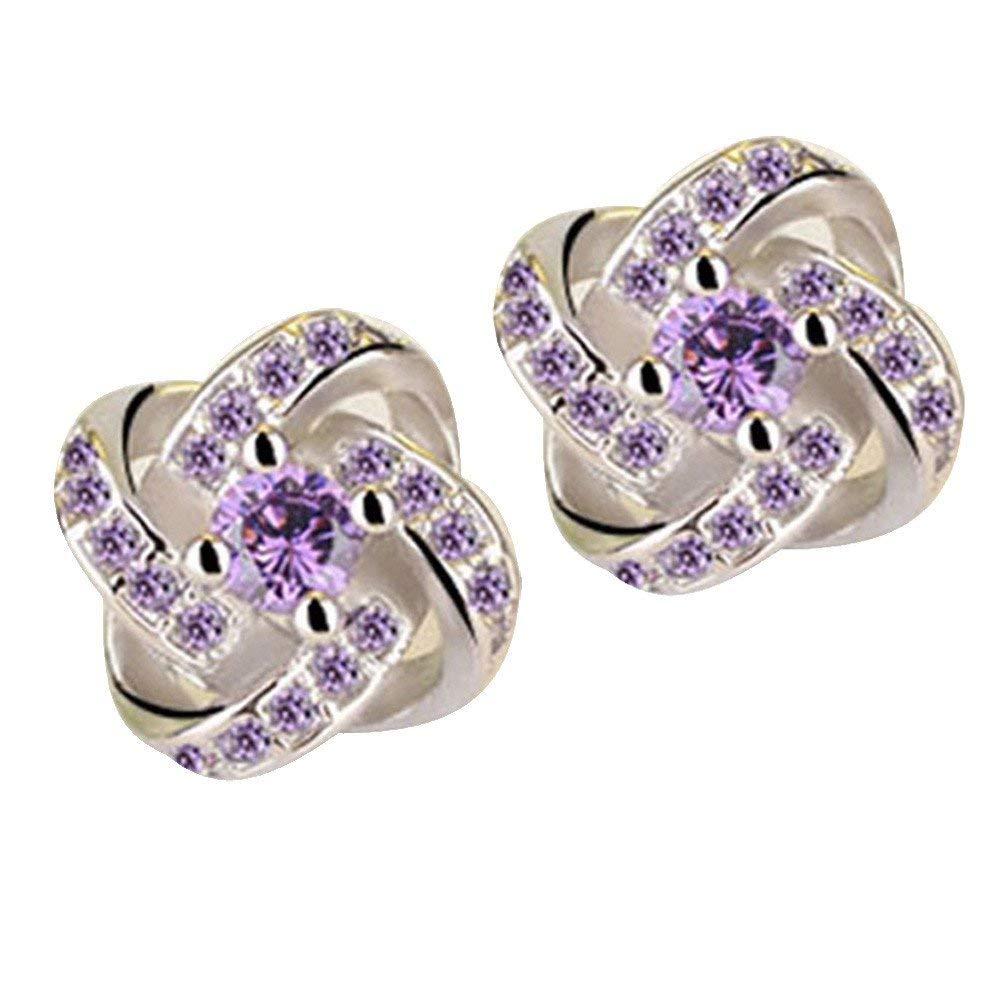 Gbell Ladies Simple Eternal Fashion Diamond Star Stud Earrings Charm Jewelry for Women (Purple)