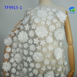 Big Flower 3d lace fabrics material embroidery beaded african white tulle lace fabric