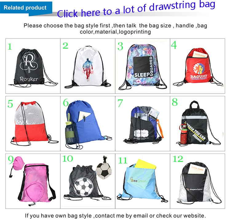 Customized Camping Medium Polyester Drawstring Bag With Your Logo
