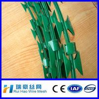 China supplier powder coated razor barbed/pvc coated barbed wire
