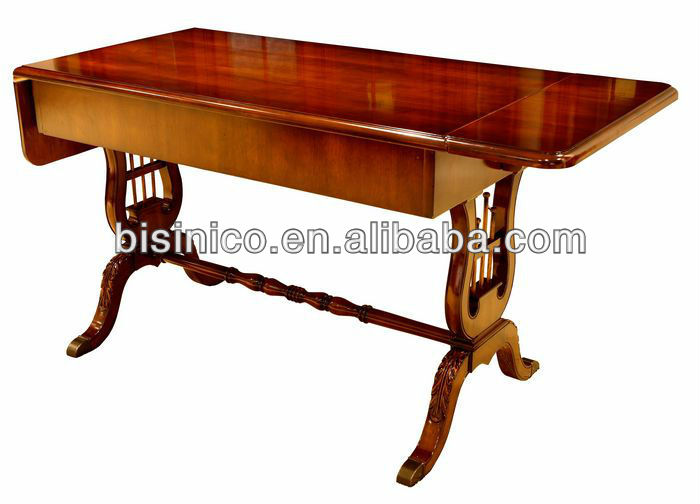 Bisini British Home Office/Study Room Furniture Set, Wooden Bookcase, Exective Desk Table and Chair, Queen Anne Style