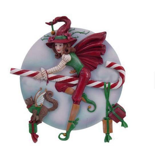 Candy Cane Riding Christmas Holiday Witch Statue Figurine