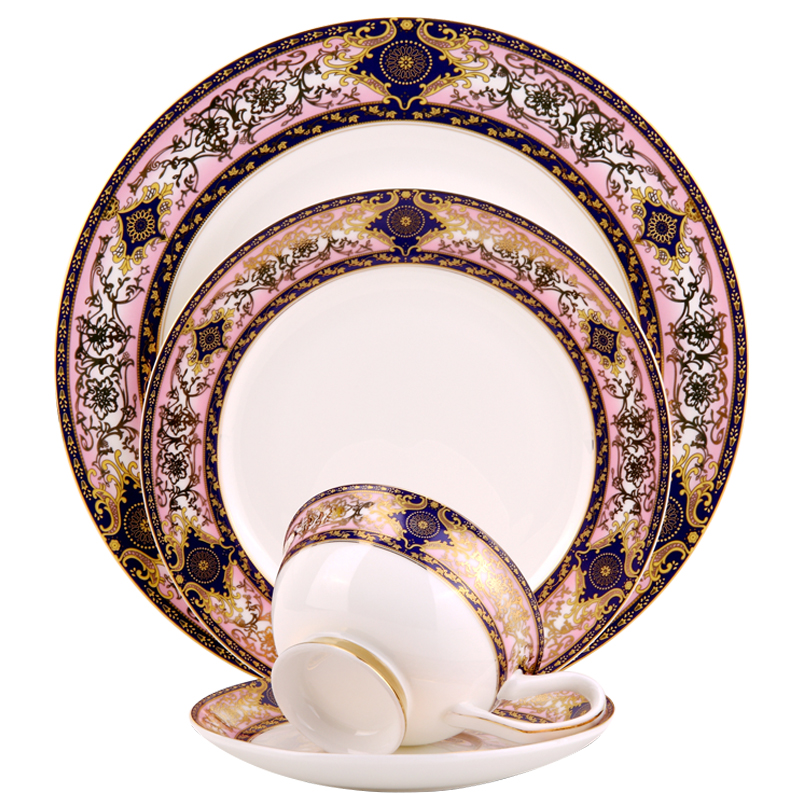 Wedding tableware Restaurant ceramic dinner dishes pink colorful charger plates Wholesale hotel Bone china gold dinnerware set