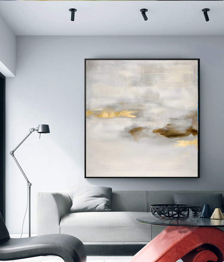 abstract art <strong>picture</strong> with golden foil grey sky cloud canvas Oil Painting