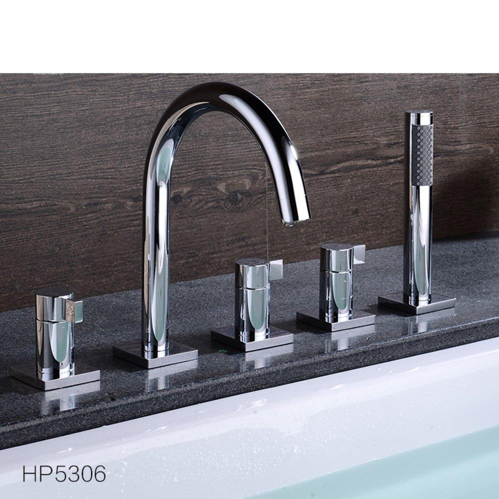 All copper hot and cold split/Sit Down/Cylinder edge formula/Five-piece bathtub faucet/Bathtub faucet floor edge-E