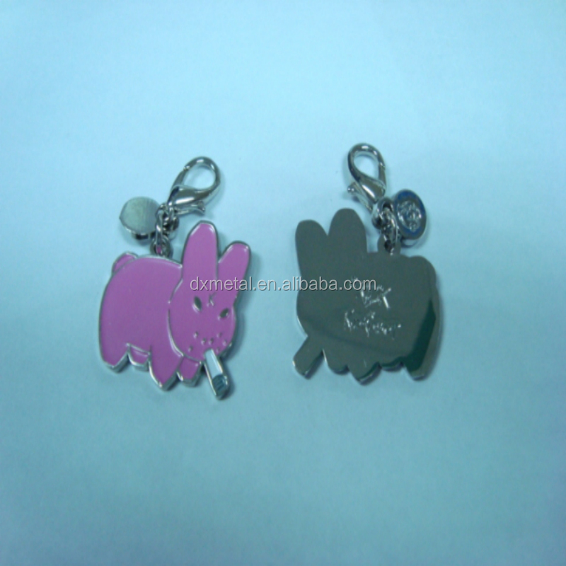 fashion lovely small pink rabbit metal zipper puller