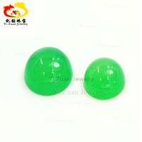 Bulk natural gemstone round cabochon dyed green chalcedony for pendant dangle jewelry making