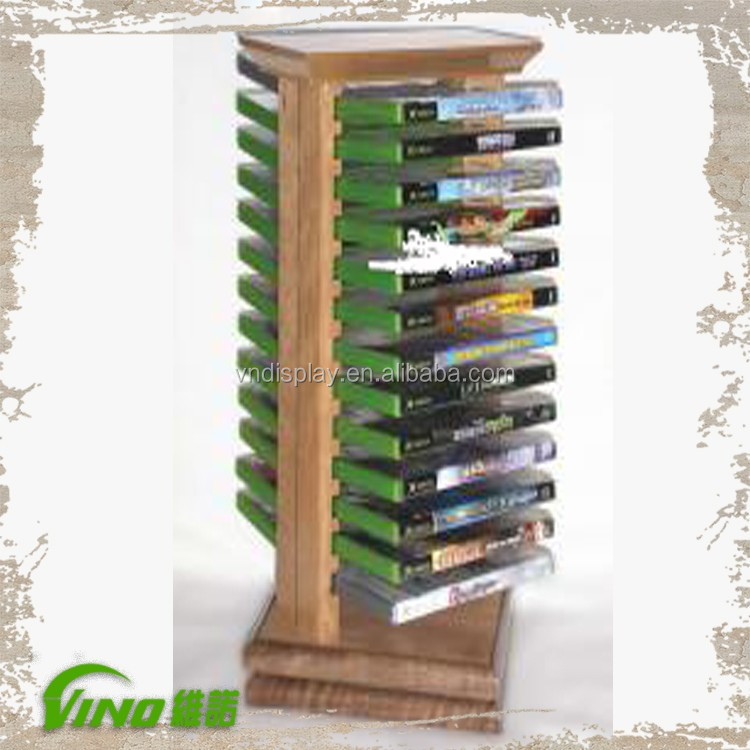 Custom Handmade Wooden Video Display Stand with Rotating Base, Tabletop CD DVD Holder Rack Display Stand Wholesale