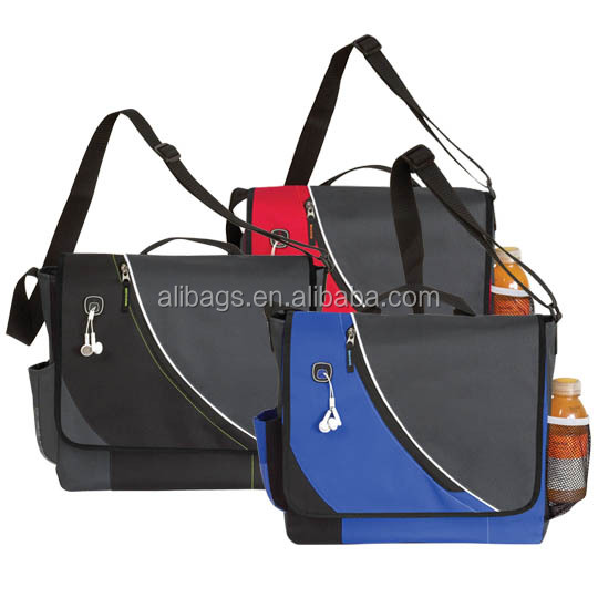600D polyester shoulder Messenger Bag with bottle holder
