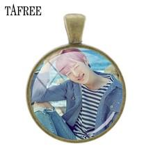 Tafree, модные MONSTA X классический знак стеклянные драгоценные камни подвеска под бронзу, покрытая старину подвеска брелок ожерелье аксессуары ...(Китай)