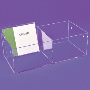 Clear Acrylic CD DVD Shelving Units Bins Display Stands Box Holder Case