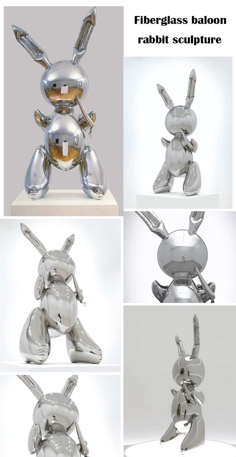Outdoor decor spray plating metal / resin / fiberglass balloon rabbit sculpture NTFS-126Y
