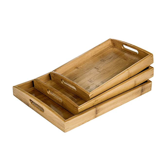 Eco-Friendly Luxury Bamboo Food Tea Serving Tray With Handles 5