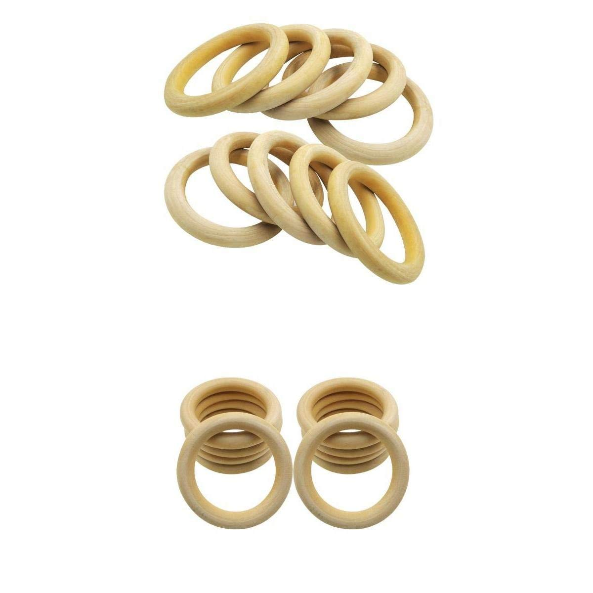 MagiDeal 15 Pieces Mix 70 & 100 Mm Unfinished Natural Wood Rings DIY Wooden Beads Connectors Circles Rings Beads Craft Rings