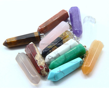 Best price mixed color hexagonal crystal point gemstone pendant