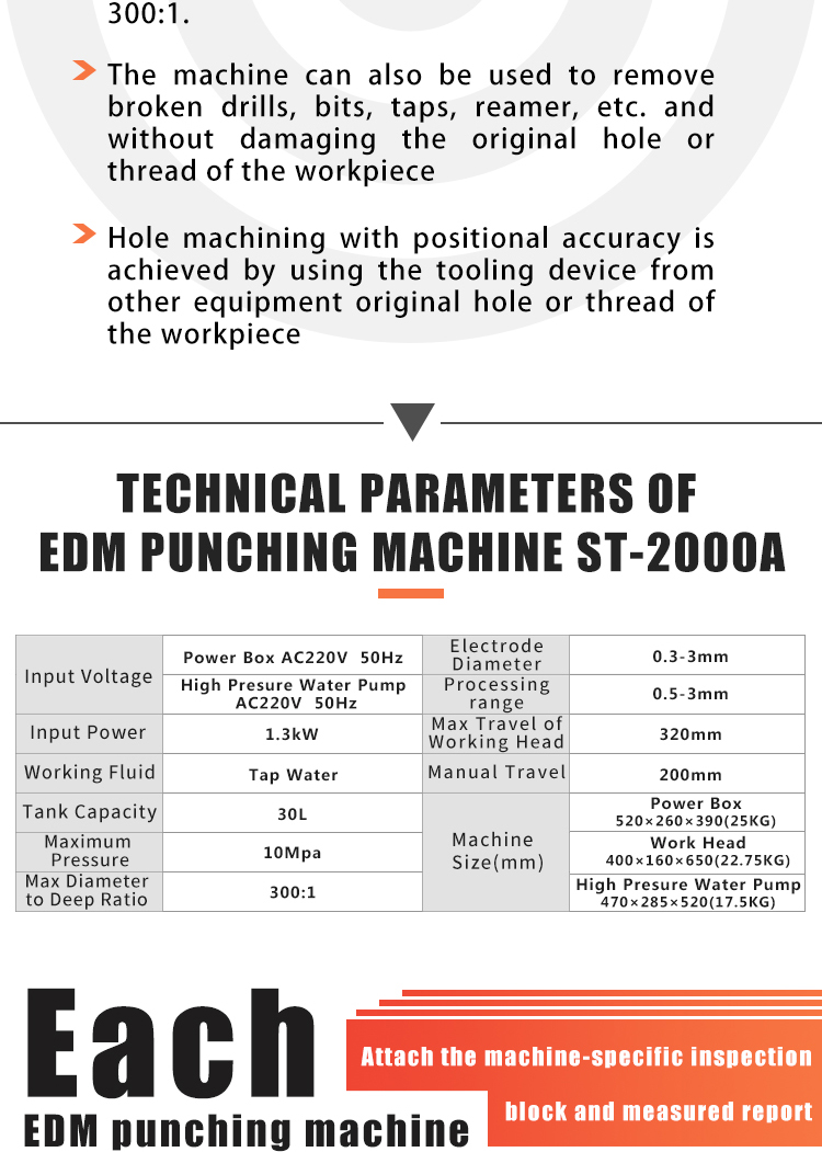 Portable EDM Drilling Machine small hole drilling EDM for 0.5 to 3 mm