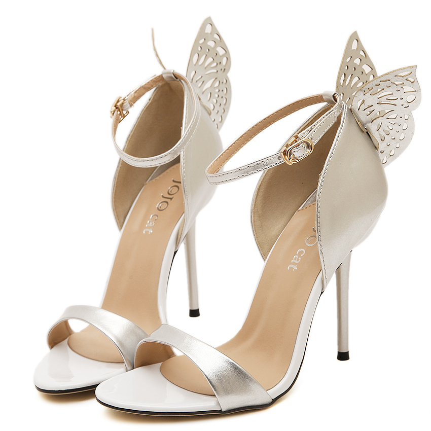 New 2015 Women Butterfly Sandals Wedding Shoes High Heel