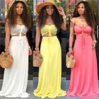 CH9069 Fashion Strapless Solid Color 2pcs 2 Piece Maxi Long Dress Set Woman