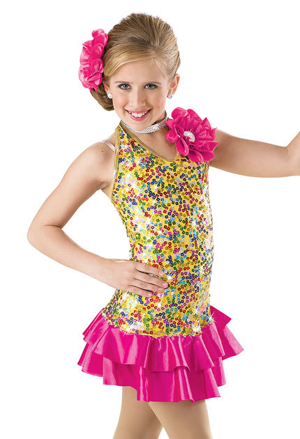 Get Quotations · Girls Jazz Dance Costumes Gold Sequin Dress Tap Dance Wear  Stage Costume Performance Dancing Dresses for 95ddfecba299