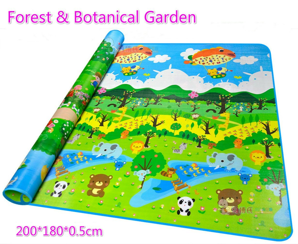 Sytian 2001800.5cm Large Size & Non-slip & Waterproof & Eco-friendly & Double Sides Baby Care Play Mat / Kids Crawling Mat / Playing Pad / Game Mat (Forest & Botanical Garden)