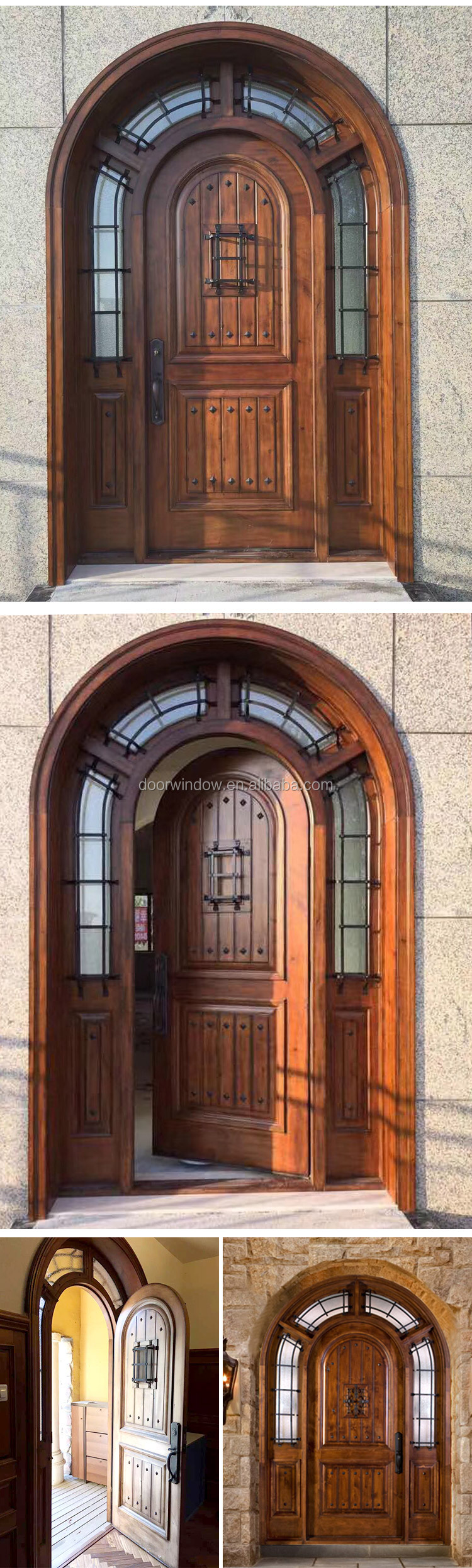 Home entrance door outside front doors with decorative wrought iron clavos