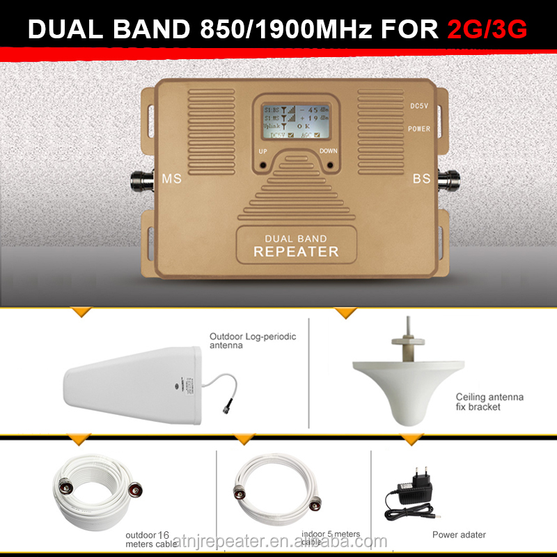 Best Price!High Power GSM &3G Smart signal Repeater Dual Band 850 &1900MHZ GSM 3G Signal Booster With Directive Antenna