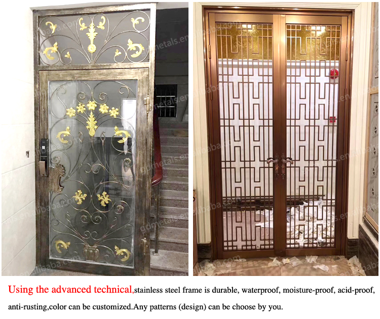 Professional custom hotel modern decoration stainless steel door frame.