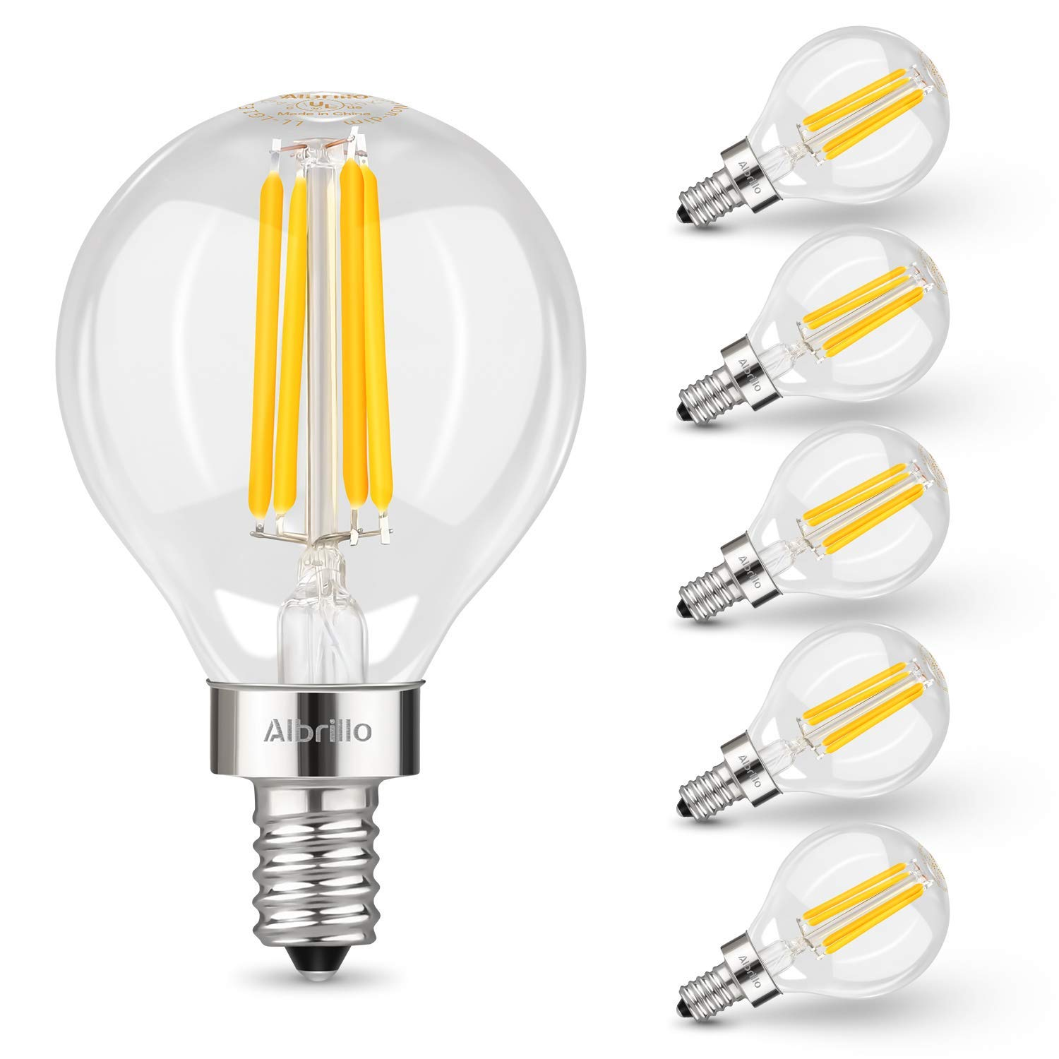 Albrillo E12 LED Light Bulbs, 40 Watt Candelabra Bulbs Equivalent, Daylight White 4000K Chandelier Bulbs, Decorate Candle Base Non-Dimmable, 6 Pack