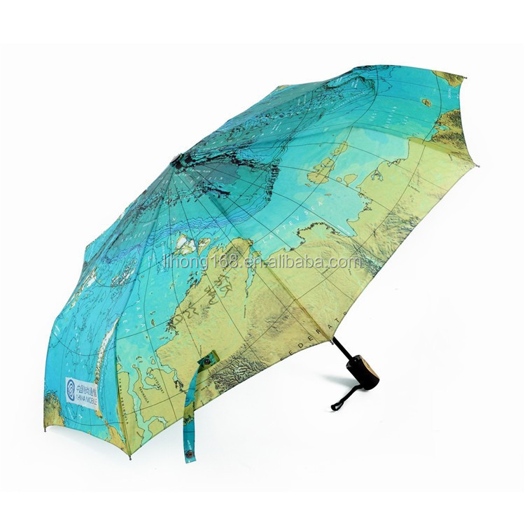 Wholesale full color printed auto open fold rain umbrella