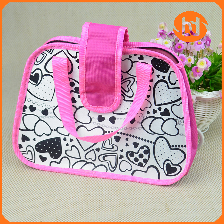 Satin graffiti printing cartoon children's school bags hand bag /tourist shopping bag