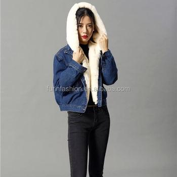 2017 2018 Fashion Women Winter Jeans Jacket With Rex Rabbit Fur