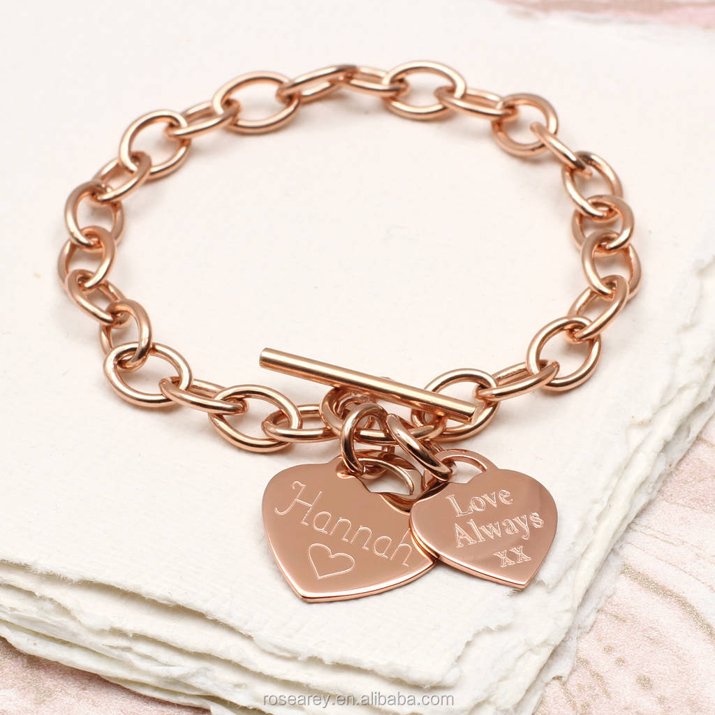 Personalised 18k Gold Plated Stainless Steel Rose Heart Coin Disc Initial Engraved T Bar Clasp