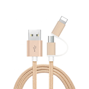 High quality 1m/3ft 2in1 charging nylon braided usb data cable for iphone charger