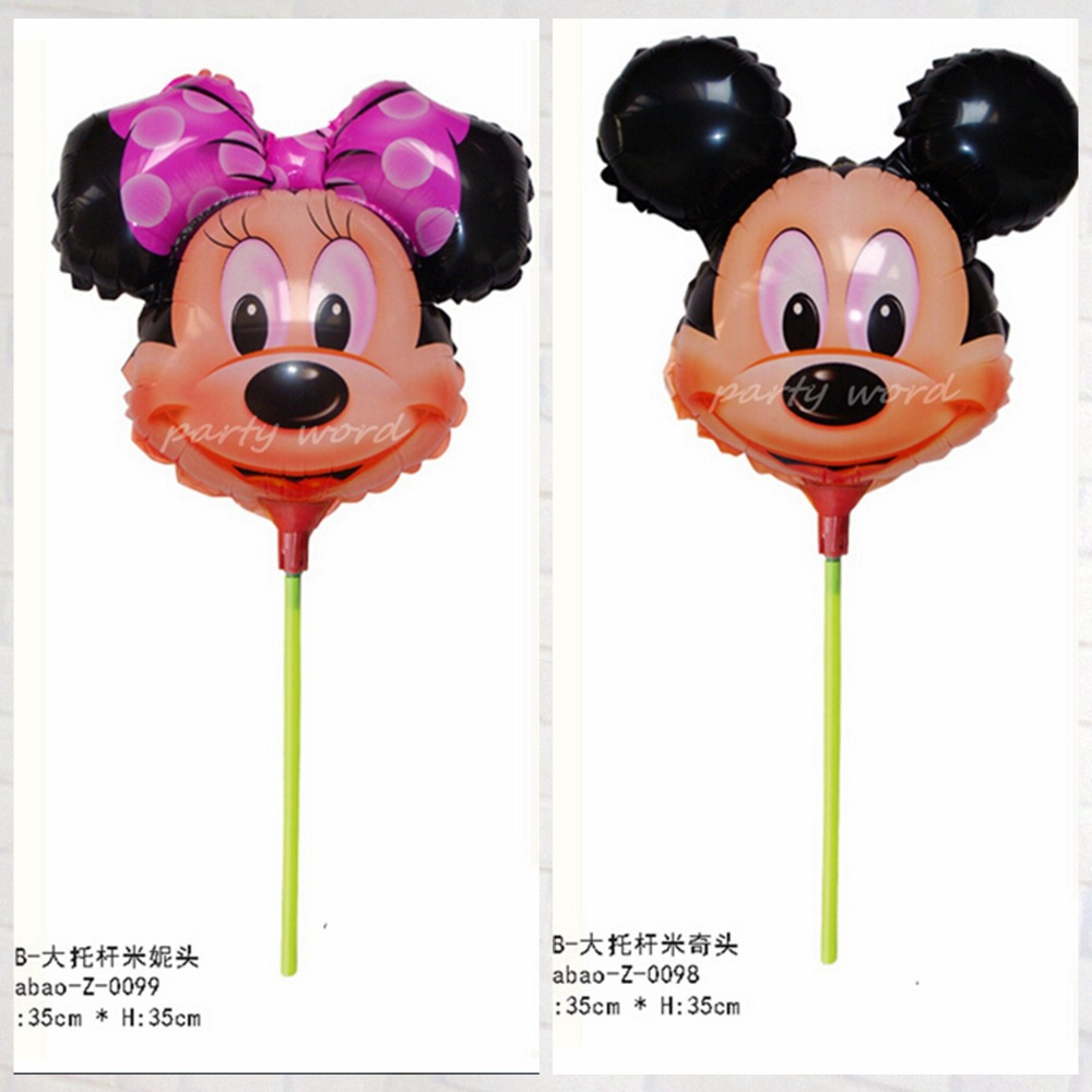 Hot selling 40pcs lot 35 35cm minnie mickey mouse with sticks foil balloons for children birthday