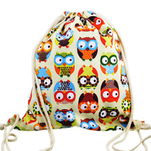2015 3D Fashion Printed Animal Owl Pattern Cute Unisex Backpacks Travel Softback Women/Men Mochilas Feminina Drawstring Bag