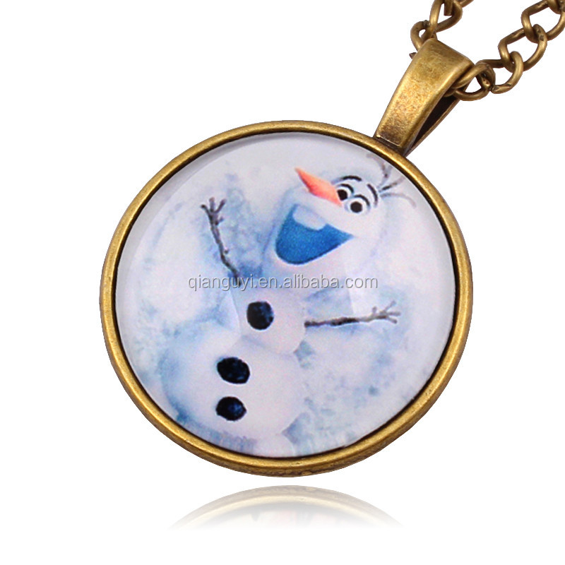 2016 New Time Gem Lovely Style Crystal Snowman Pendant Necklace Chilren's Necklace