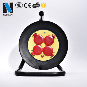 EU or Korea market 16A 250V 50M extension cord cable reel drum with 4 sockets and eu plug