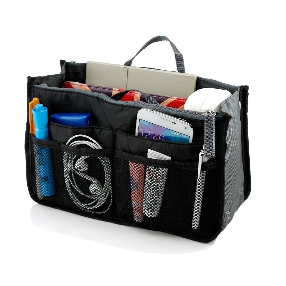 Go Beyond (TM) Makeup Organizer Bag , Travel Compartment Handbag with 13 Inserts holder , Best for Coupon and make up accessories Large Liner Organizing Tote Purse with hanging handle (Black)