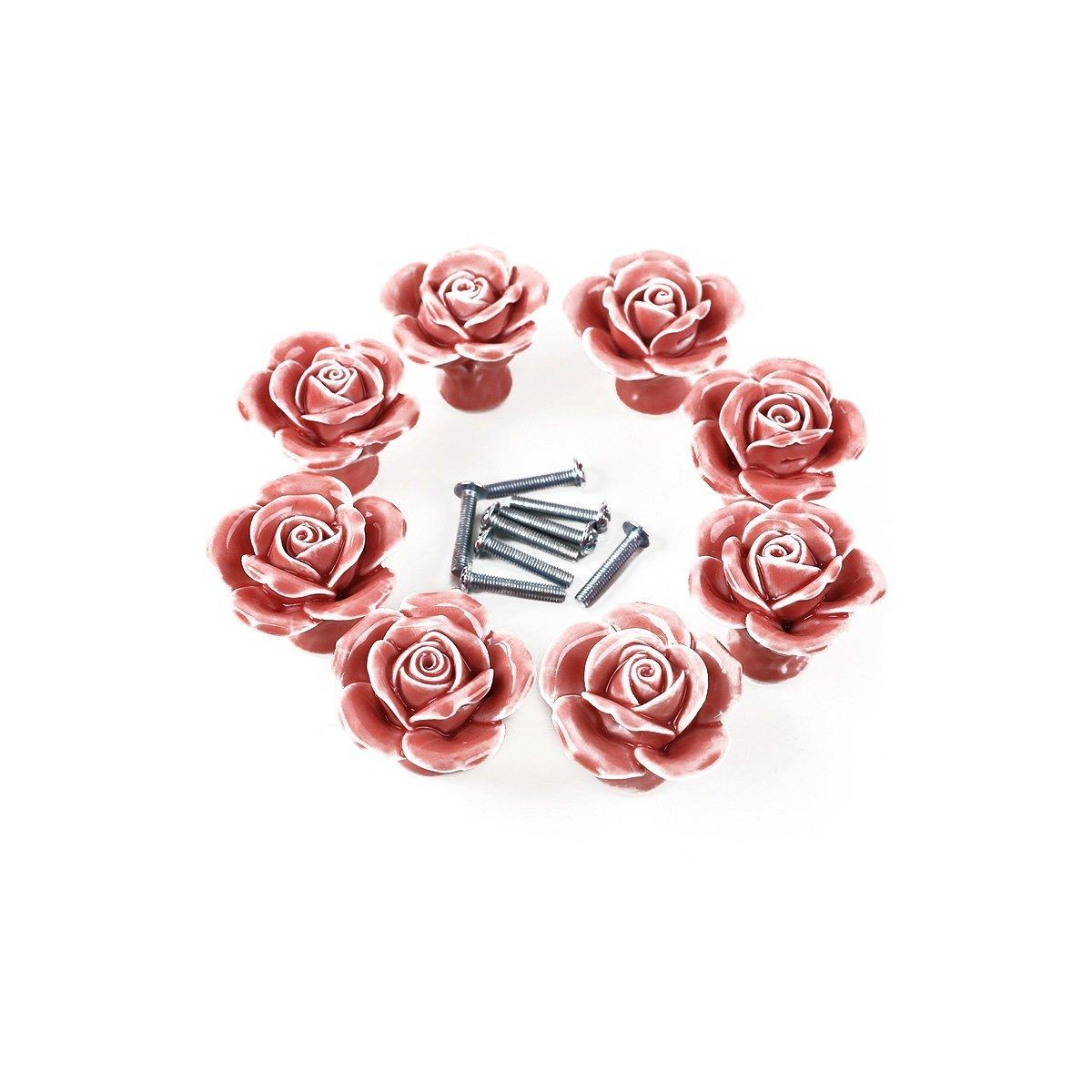 Tinksky 8pcs Rose Shaped Ceramic Kitchen Cupboard Cabinet Drawer Door Knobs Pull Handles (Pink)