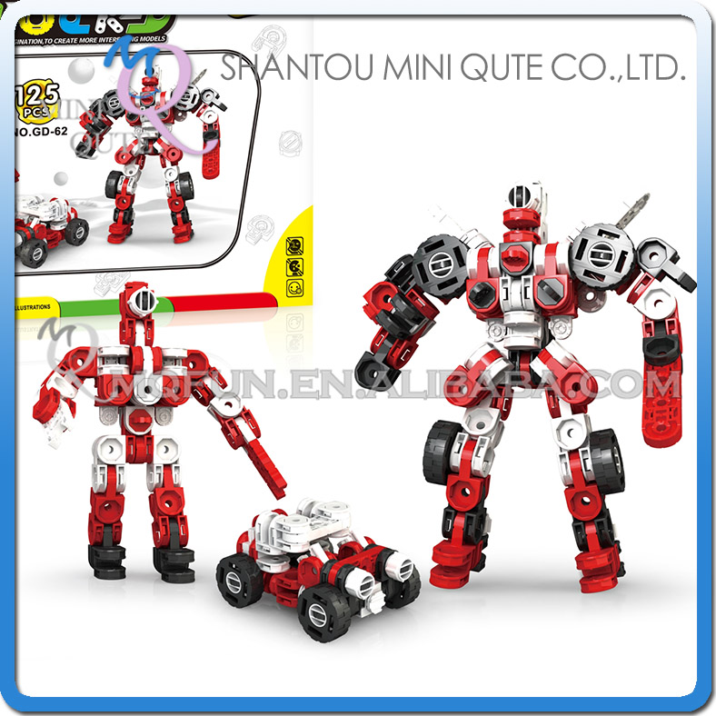 MINI QUTE 3 IN 1 Robot Iron commander plastic connect puzzle Assembly DIY building blocks kids educational toys NO.GD-62
