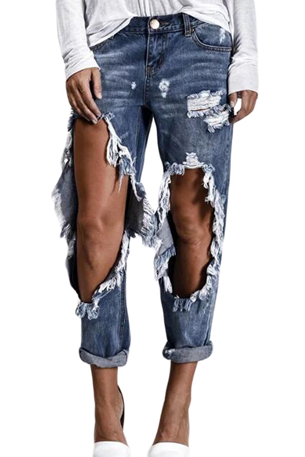 d7e405e71ec1e Get Quotations · Women Casual Hollow Out Ripped Hole Distressed Jeans  Bodycon Boyfriend Style Pants
